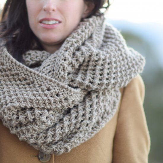 "This cozy, oversized ""infinicowl"" is wide enough to wear over your head as a snood! The eye catching stitch is easy to master. Free pattern."