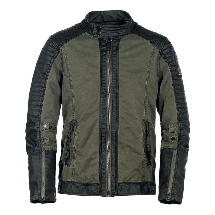"""#Giacca uomo """"Road King"""" del brand #Brandit in stile Biker, in pelle nera e cotone color verde oliva."""