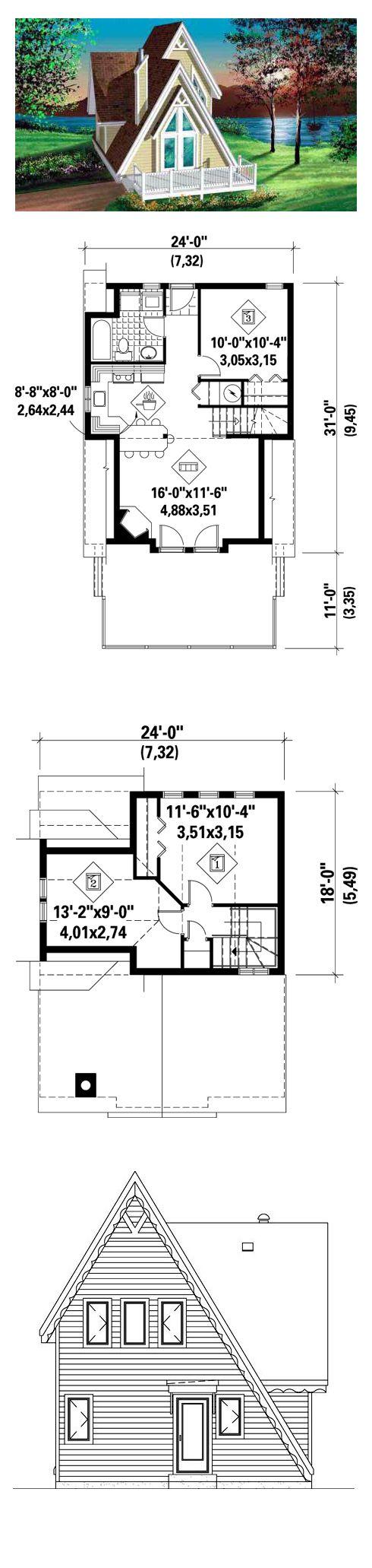 A-Frame House Plan 49303 | Total Living Area: 994 sq. ft., 3 bedrooms & 1 bathroom. #houseplan #aframe