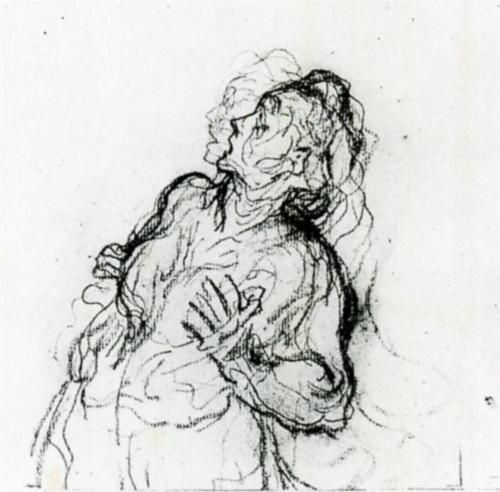 Study of a Terrified Woman - Honore Daumier