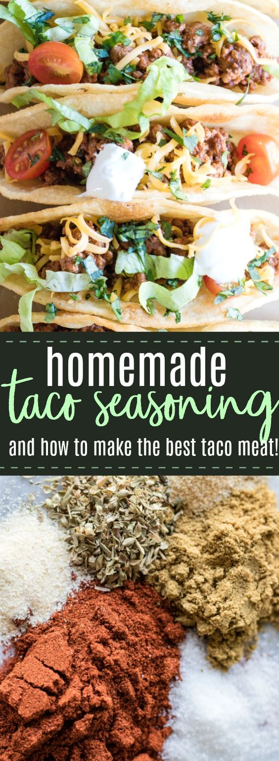 Easy Homemade Taco Seasoning. Make your own seasoning mix at home! Never buy the pre-made mix again! This homemade taco seasoning takes minutes to put together and creates a flavorful mix. Use this mix for creating the best taco meat, seasoning chicken, or spicing up a pasta dish or soup. #tacos #seasoning #tacorecipe #mexicanfood