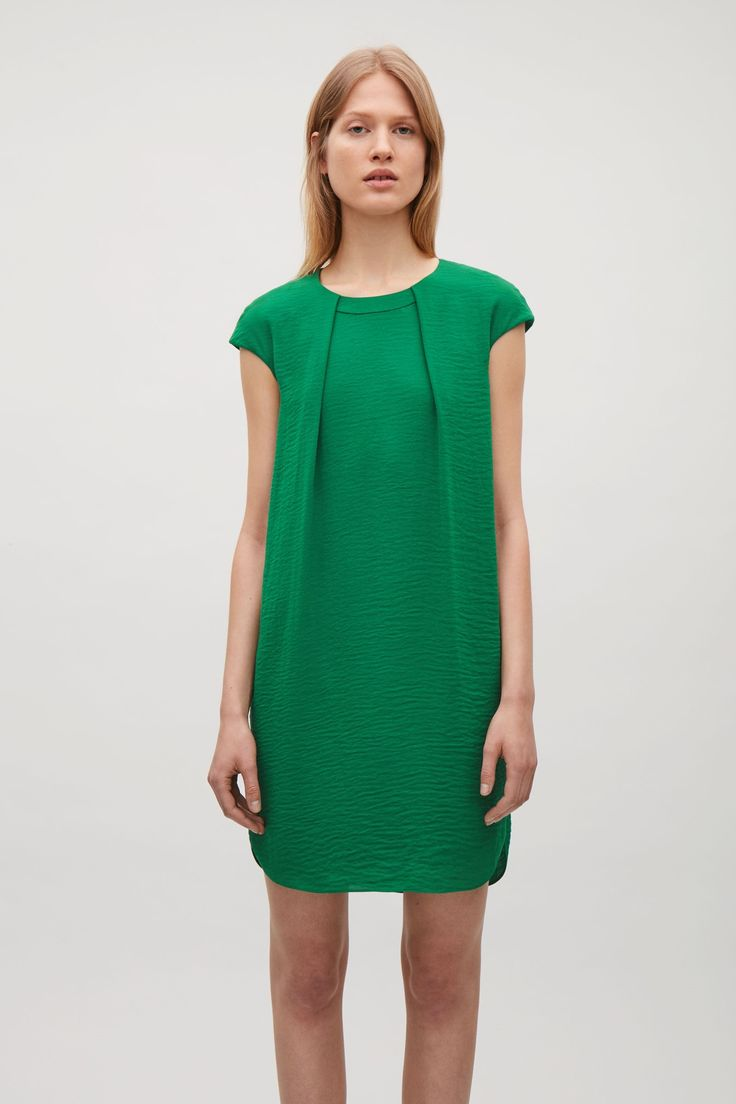 COS image 2 of Soft pleat A-line dress in Bottle Green