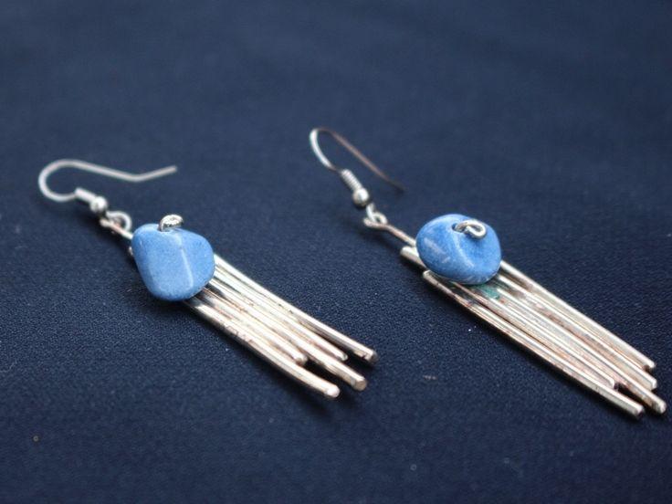 Handmade nickel silver earrings with lapis lazuli stone