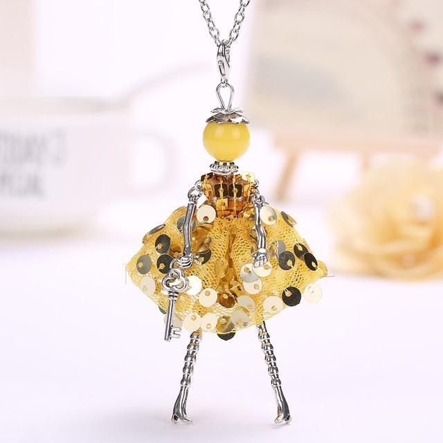 Cute Doll in a Yellow Sparkly Dress Pendant Necklaces for Women