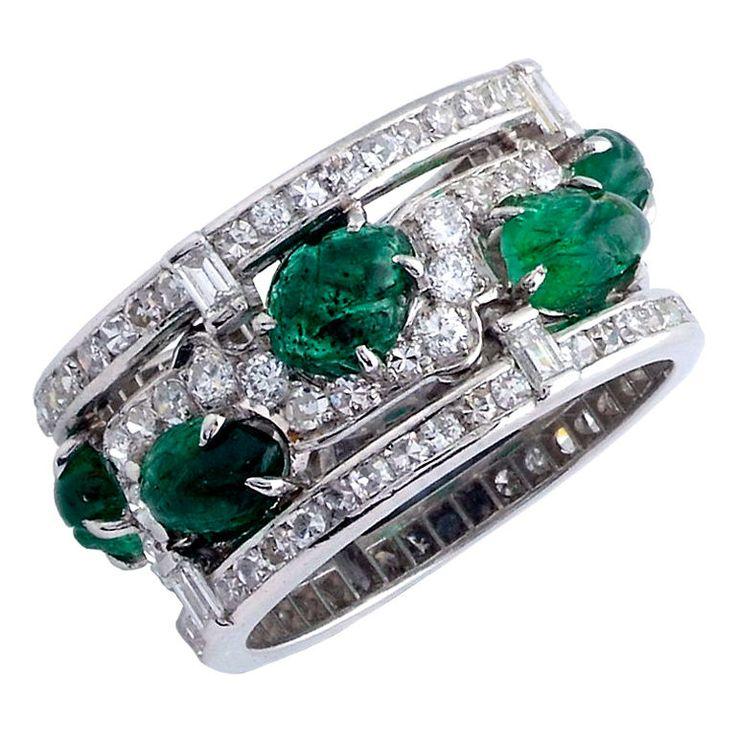 Carved Emerald Diamond Ring