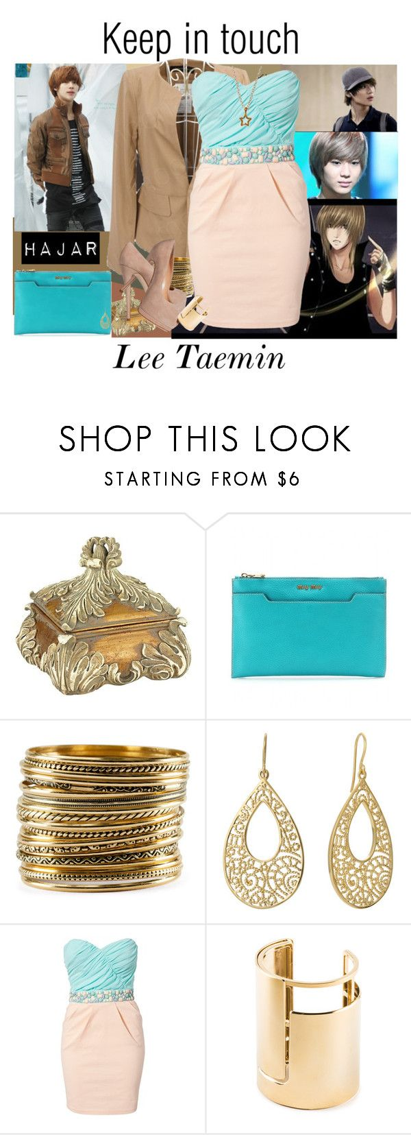 """""""Keep in touch"""" by enigmaticma ❤ liked on Polyvore featuring Miu Miu, H&M, Giuseppe Zanotti, Isharya, Elise Ryan, Lanvin and Gorjana"""