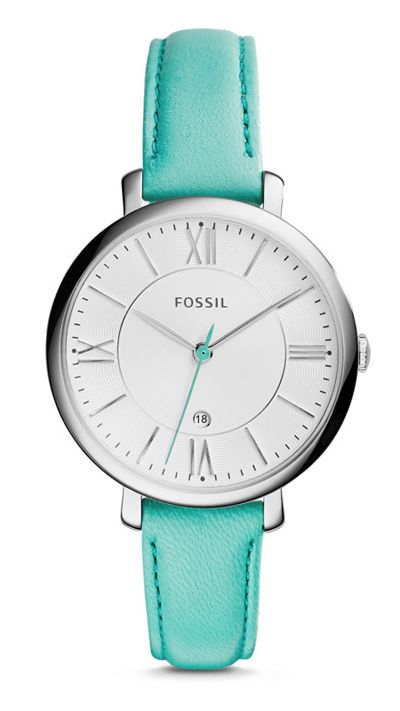 A flawless essential, the refined Fossil Jacqueline Green Leather Watch puts a sophisticated spin on a ladylike classic. Its signature steel case couples with an easy-to-wear leather strap in this ele
