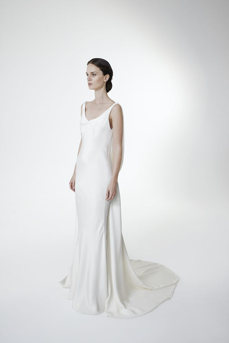 Style JULIA: V-neckline mermaid gown in crepe cady with drapings on the back