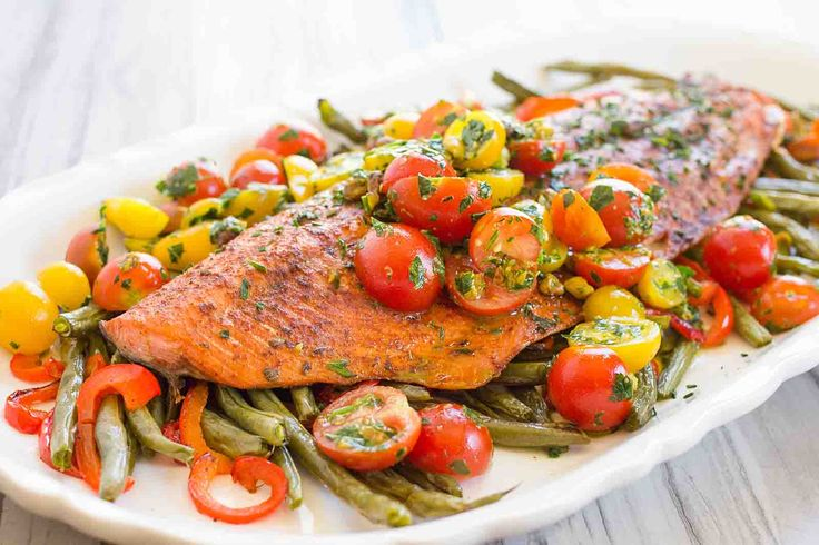 One-Pan Roasted Harissa Salmon with Vegetables Recipe | SimplyRecipes.com