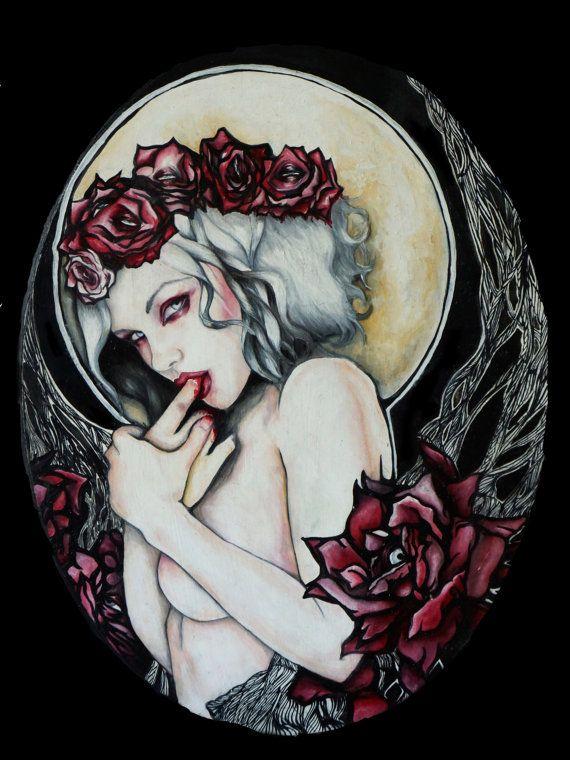 In the Garden  Satin Paper Print Dark Gothic Art by Pajamasquid, $15.00