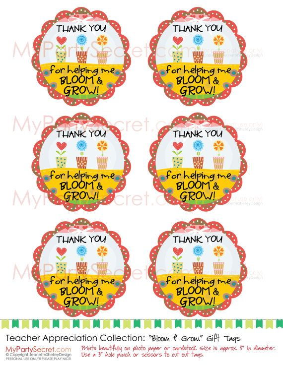 Diy Printable Appreciation Moms Help Us Bloom Grow 4 Gift Tags