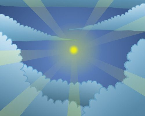 Draw a sky filled with clouds and a bright sun.