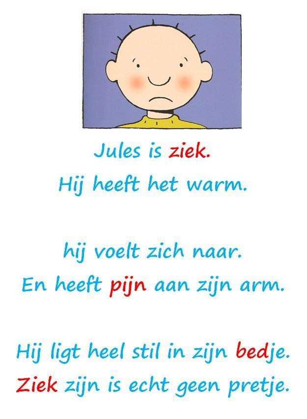 gedicht Jules is ziek met streefwoordenschat in het rood (1ste kleuterklas met veel anderstaligen) Original by Juf Wendy