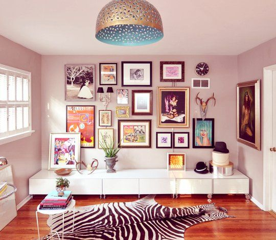 bedroom art wall via apartment therapy