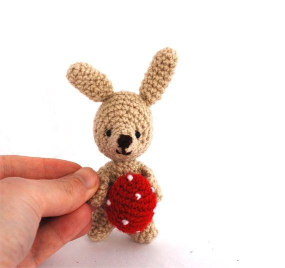 $23.48 #miniature #bunny, #tiny bunny #with #red #Easter #egg, #crochet #bunny, #amigurumi #bunny, #Easter #decoration, #plush #rabbit, #Easter #rabbit #doll