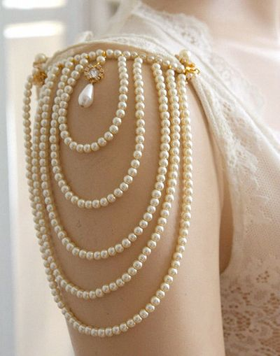 pearls and lace detail. This would be pretty on the back of a dress!
