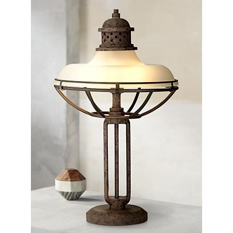 franklin iron works glass and metal industrial table lamp style 3j541