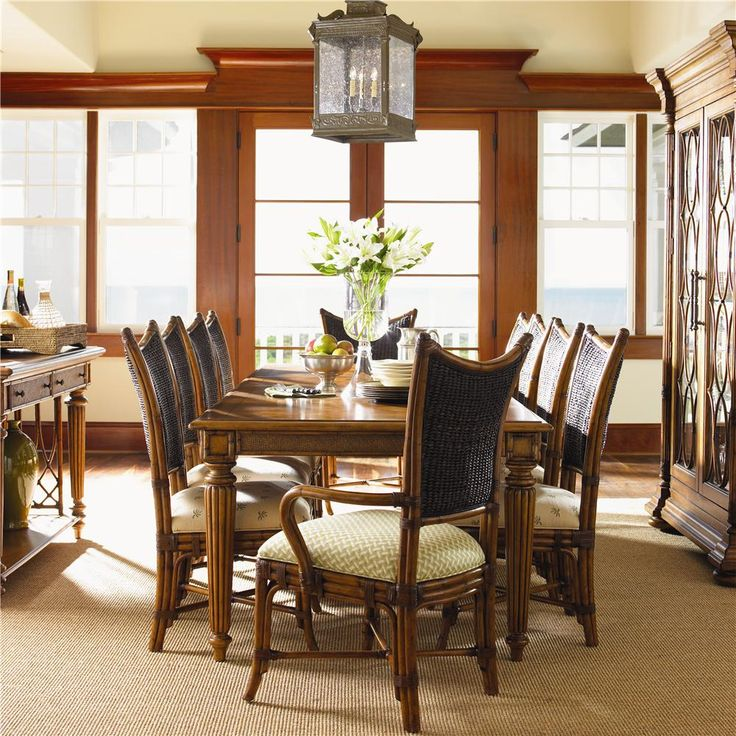 Island Estate 11 Piece Grenadine Rectangular Dining Table Mangrove Chairs Set By Tommy Bahama Home