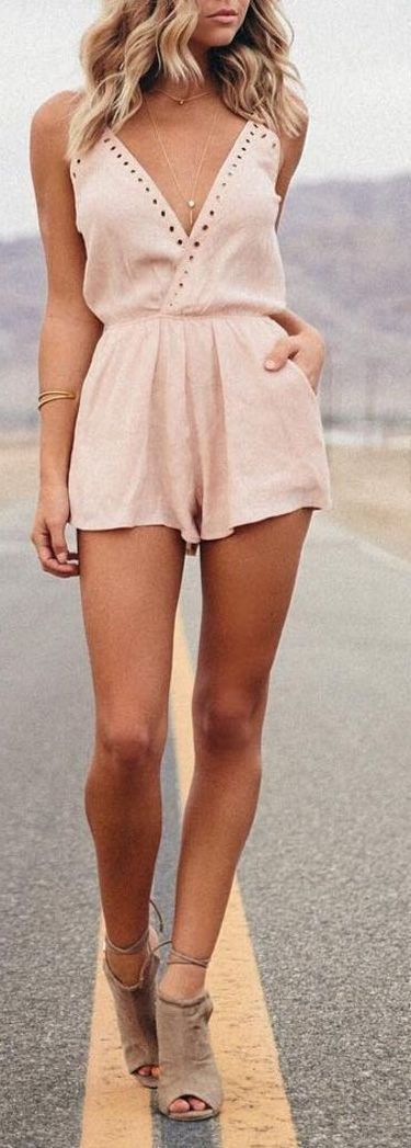#summer #fashion nude playsuit spring summer outfit daytime spring bbq barbecue brunch picnic graduation lightweight vacation travel romper one piece flowy cami v neck