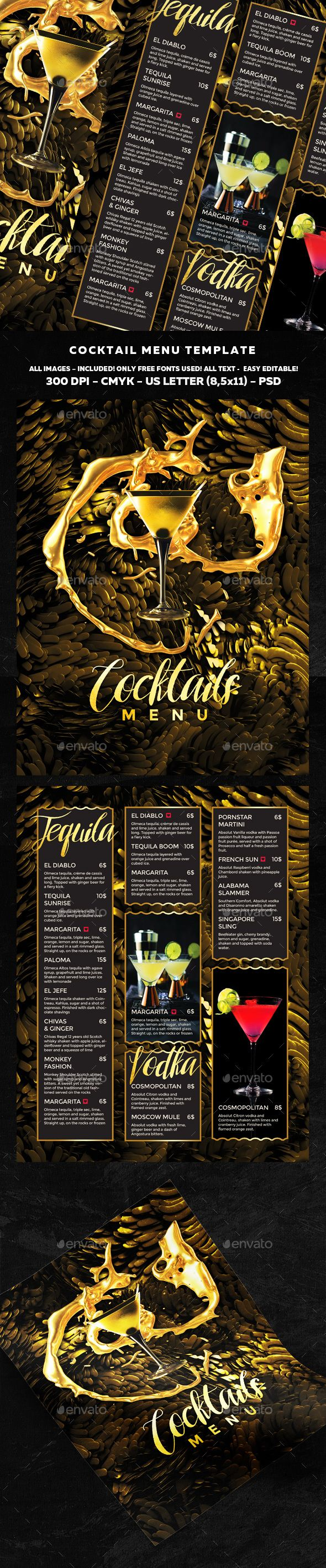 Cocktail Menu #alcohol #bar #club #cocktail #cocktaildrinks #cocktailmenu #cocktailmenuflyer #drinkmenu #drinks #drinksmenu #menu #mojito #nightout #nightclub #party #restaurantmenu