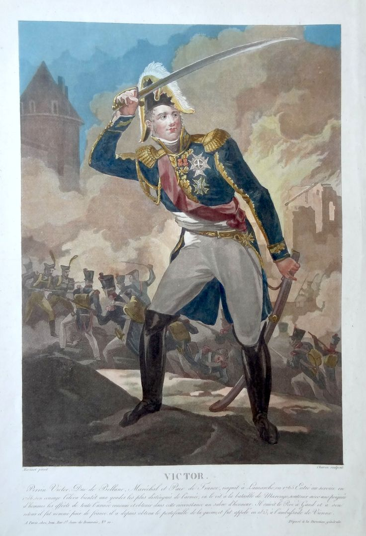 Claude-Victor Perrin dit Victor, Duc de Bellune (né le 7 décembre 1764 à Lamarche - mort à PAris le 1er mars 1841) - Maréchal d'Empire - gravé par Charon d'après Martinet et publié chez Jean - MAS Estampes Anciennes - Antique Prints