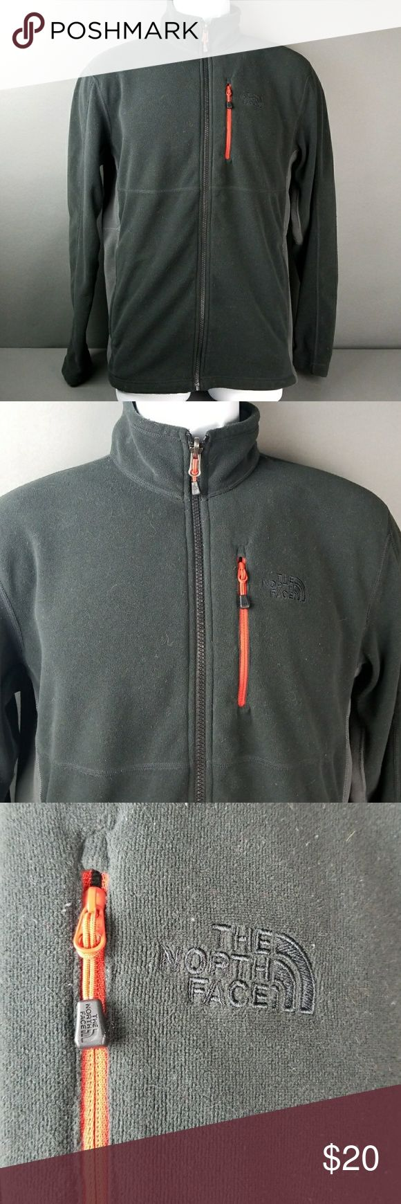 The North Face full zip Mens Jacket Pre owned in ok good condition. I put this on my faux blanket and it picked up all the blanket hair. Can be rehashed and should come out. Still great jacket. Size M The North Face Jackets & Coats
