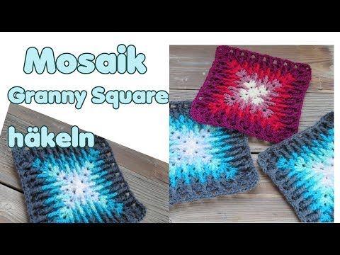 Mosaik Granny Squares häkeln Anleitung (Decke, Kissen, etc) – YouTube