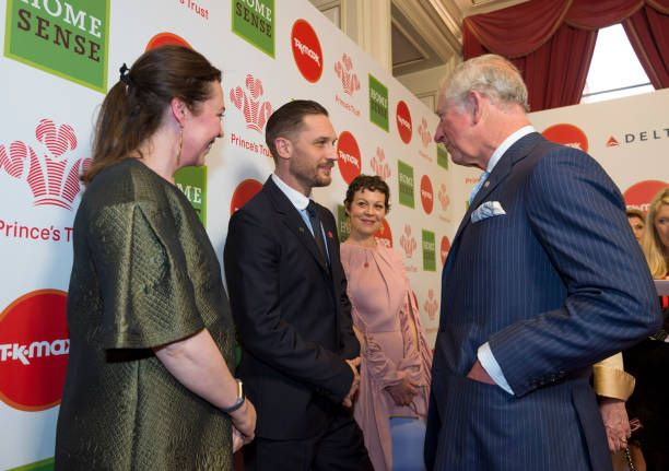 Prince Charles Prince of Wales speaks to actors and Celebrity Trust Ambassadors Olivia Coleman Tom Hardy and Helen McCory at The Prince's Trust...