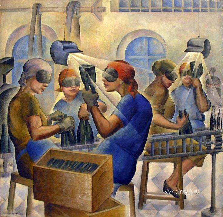 Бебутова-Кузнецова Елена Михайловна (Россия, 1892-1970) «Браковщицы. Розлив нарзана» 1932
