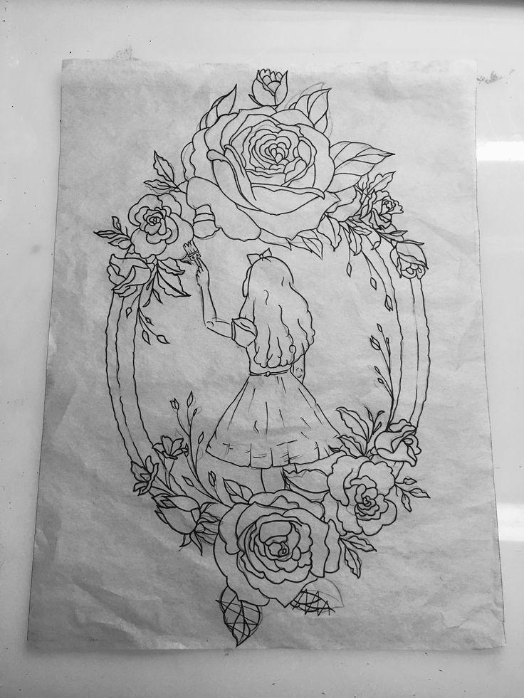 Tattoo design by Chelsea Fuller. Alice in Wonderland.