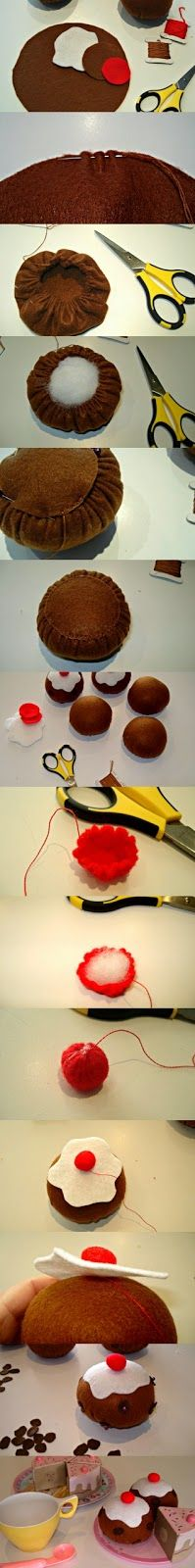 cupcake cutie: Don't fall over its a tutorial!: Felt Currant Buns