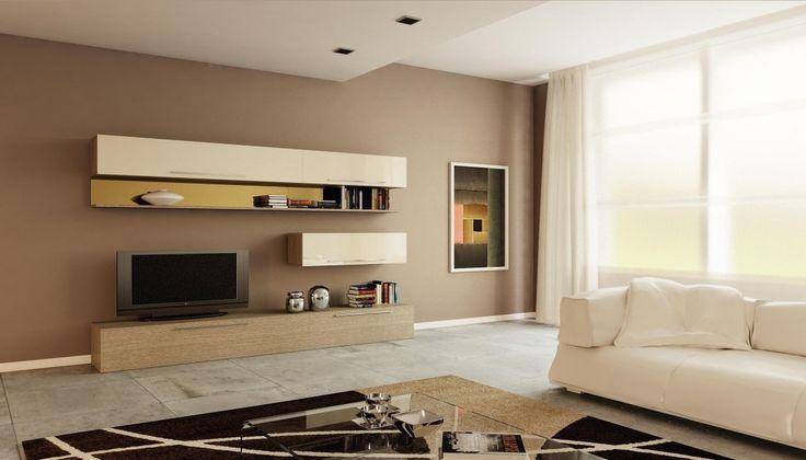 Parete soggiorno design moderno L 300 cm con mensole a specchio larice grigio e laccato lucido - Art 1481 Outletarreda