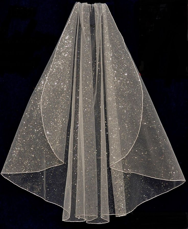 Glistening Glitter Tulle Fingertip Length Wedding Veil - Affordable Elegance Bridal -