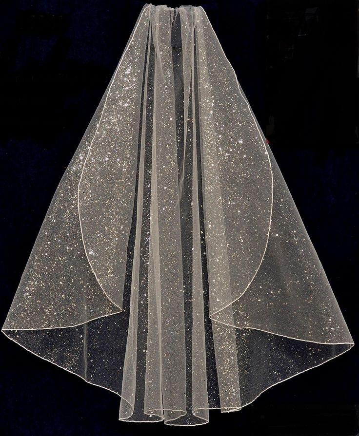 Glitter Tulle Fingertip Length Wedding Veil V6136