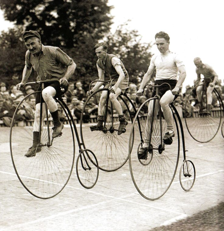 A penny-farthing race at Herne-Hill, London - 1 July 1932. Vælte Peter, racing, wheels, bicycle, oldie, history, competition, transportation, photography, vintage, photo b/w.