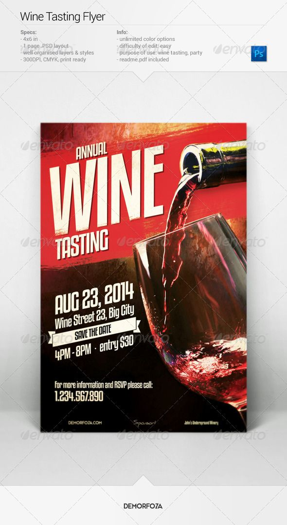 wine tasting flyer psd templates event flyers and template. Black Bedroom Furniture Sets. Home Design Ideas