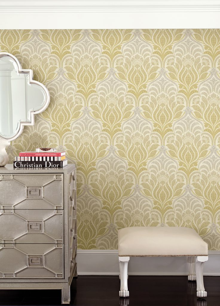 This Chic Damask Wallpaper Has A Fashionable Golden Color That Fades Into A  Light Grey.