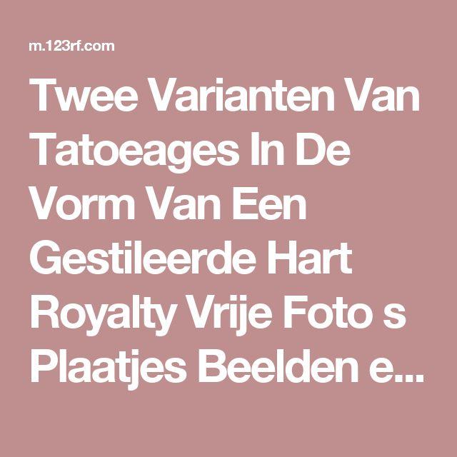 Twee Varianten Van Tatoeages In De Vorm Van Een Gestileerde Hart Royalty Vrije Foto s Plaatjes Beelden en Stock Fotografie