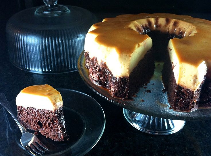 Mexican Chocoflan (Choco Flan)- 2 Desserts in 1!  Chocolate Cake Topped with Creamy Flan (Custard) and Caramel!  OMG this is awesome!