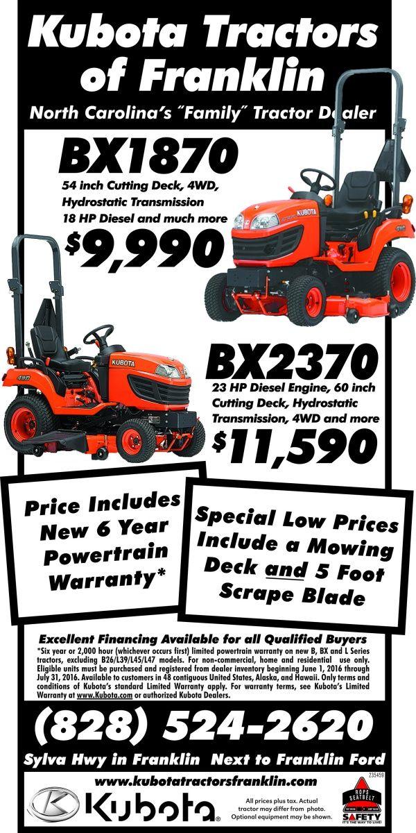 "North Carolina's ""Family"" Tractor Dealer    BX1870  54 inch Cutting Deck, 4WD,  Hydrostati... | Kubota Tractors of - Franklin, NC #georgia #ClaytonGA #shoplocal #localGA"