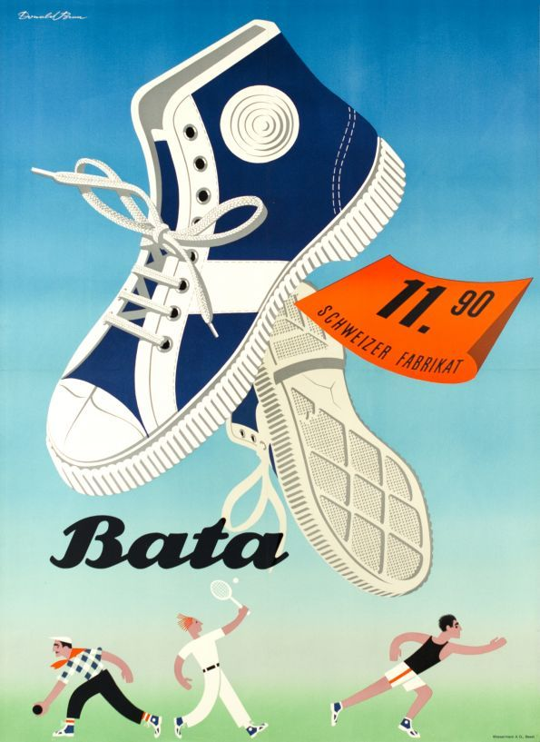 Sport and tennis shoes by Bata. 1950 Advertising by Donald Brun