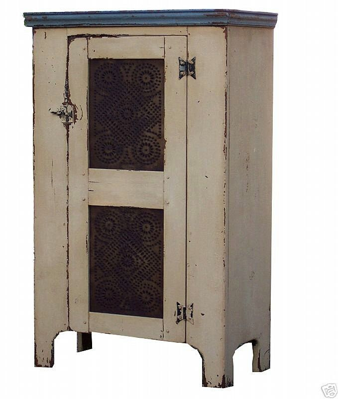 Primitive pie safe cupboard painted country cabinet pine farmhouse Colonial reproduction furniture. $550.00, via Etsy.