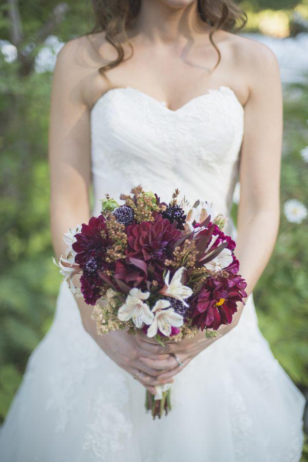 deep hued wedding bouquet #bride #bouquet #weddingchicks http://www.weddingchicks.com/2014/02/26/fun-and-feisty-forest-wedding/