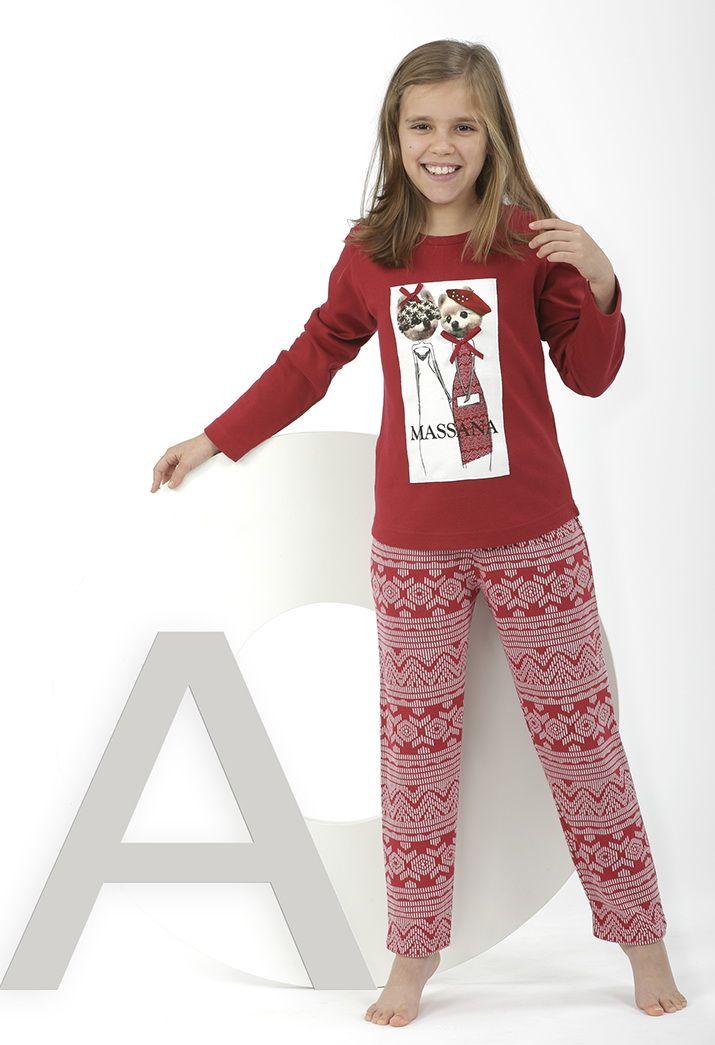 Pijama rojo perritos con estampado invernal