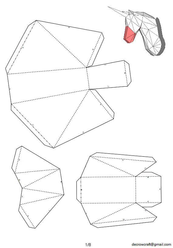 Unicorn Paper Head DIY Template Wall Trophy 40 cm Size
