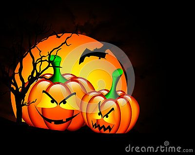 Two halloween pumpkins with moon over dark background