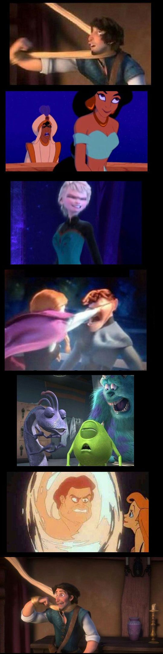 A wide assortment of paused Disney films, instantly ruining your childhood; Disney