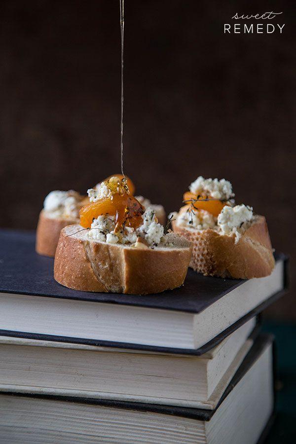 Apricot Thyme Goat Cheese + Bacon Crostini