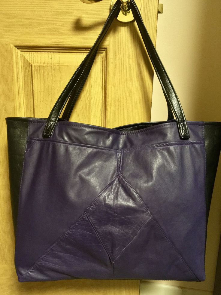 Purple and BlackLeather Lined Tote Sorry  Janette claimed it ! by Junie8ug