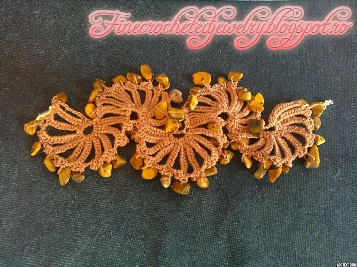 Crochet tiger's eye bracelet